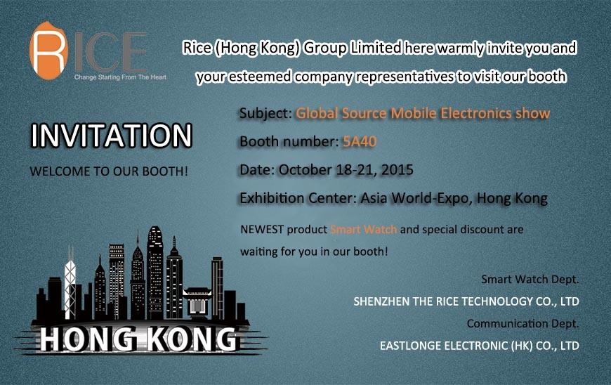 10/18/2015 demostración móvil de la electrónica de las fuentes globales en Hong-Kong